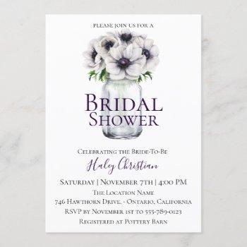 chic anemone floral bridal shower invitation