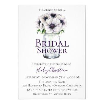 chic anemone floral bridal shower invitation