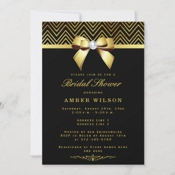 chic black gold chevrons diamond bow bridal shower invitation