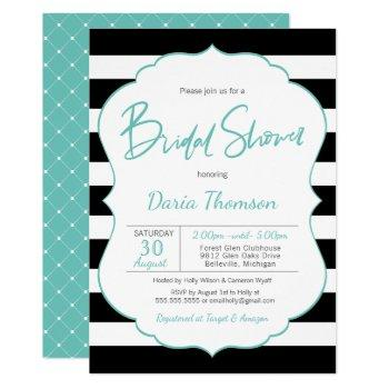 chic black & white stripe turquoise bridal shower invitation