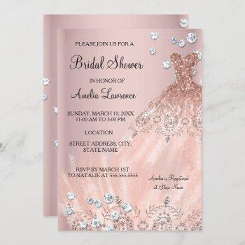 chic bride blush pink dress diamond bridal shower invitation
