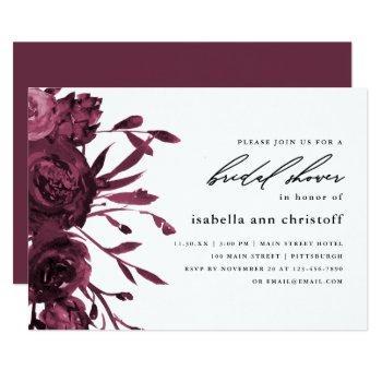 chic burgundy floral wedding bridal shower invitation