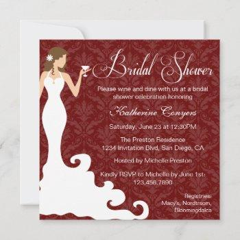 chic burgundy wine damask bridal shower invitation