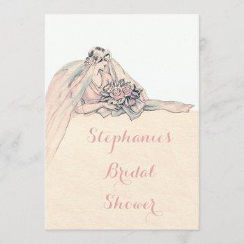 chic edwardian flapper bride vintage bridal shower invitation