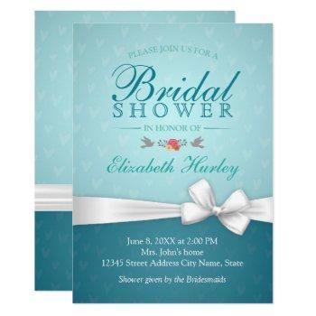 chic elegant white ribbon turquoise bridal shower invitation