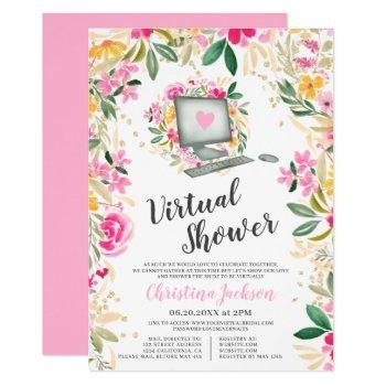 chic floral watercolor gold bridal virtual shower invitation