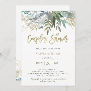 chic foliage   couples shower invitation