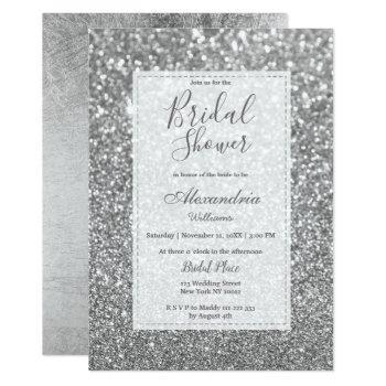 chic glamorous trendy silver glitter bridal shower invitation