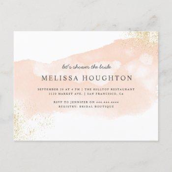 chic gold glitter blush pink bridal shower invitation postcard