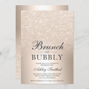 chic gold glitter brunch bubbly bridal shower invitation