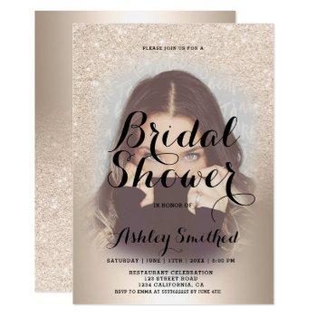 chic gold glitter ombre foil photo bridal shower invitation