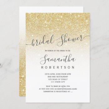 chic gold glitter white script bridal shower invitation