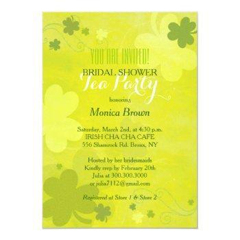 chic green shamrocks irish bridal shower tea party invitation