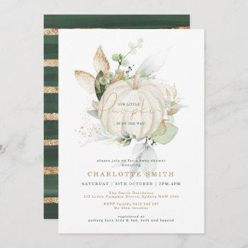 chic greenery gold pumpkin autumn fall baby shower invitation