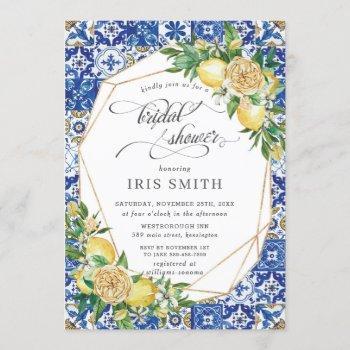 chic lemon floral greenery geometric bridal shower invitation