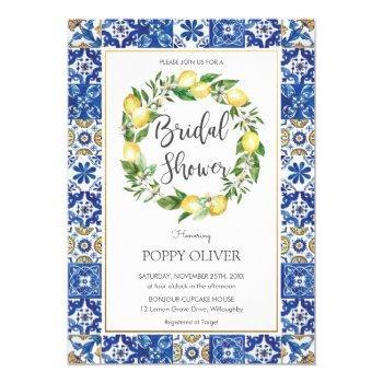 chic lemon mediterranean bridal wedding shower invitation