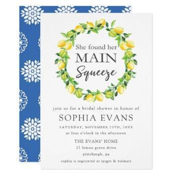 chic lemon wreath main squeeze bridal shower invitation