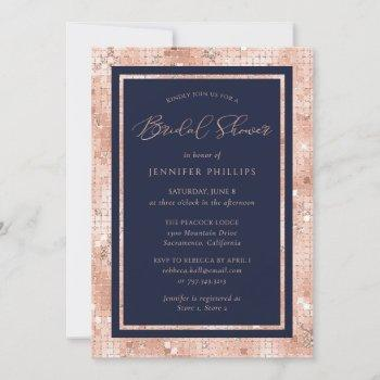 chic navy blue and rose gold glitter bridal shower invitation