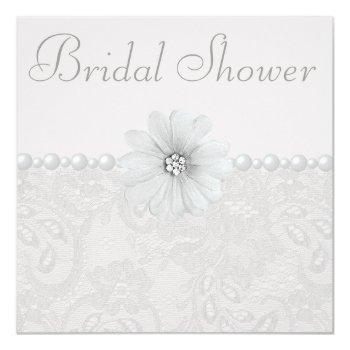 chic paisley lace, flowers & pearls bridal shower invitation