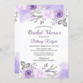 chic pastel purple rose garden bridal shower invitation