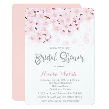 chic pink cherry blossom bridal shower invitation