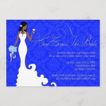 chic royal blue silver damask here comes the bride invitation