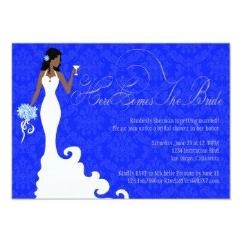 chic royal blue silver damask here comes the bride invitation