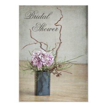 chic rustic hydrangea arrangement bridal shower invitation