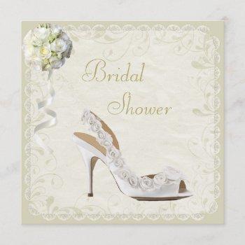 chic shoe & bouquet bridal shower invitation