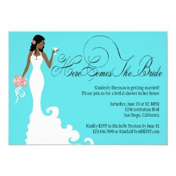chic teal black coral here comes the bride invitation