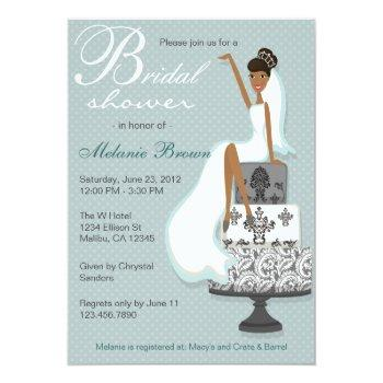 chic teal modern bride contemporary bridal shower invitation