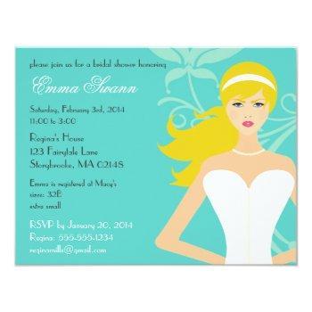 chic tiffany blue bridal shower [blonde bride] invitation