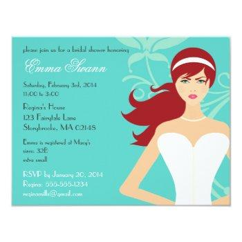 chic tiffany blue bridal shower [redhead bride] invitation
