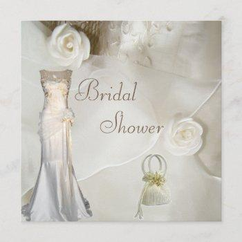 chic vintage wedding gown bridal shower invitation