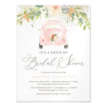 chic watercolor floral drive by bridal shower magnetic invitation