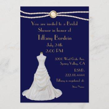 chic wedding dress bridal shower invitation