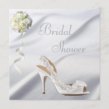 chic wedding shoe & bouquet bridal shower invitation