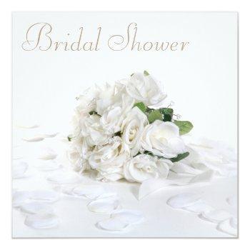chic white roses bouquet & petals bridal shower invitation