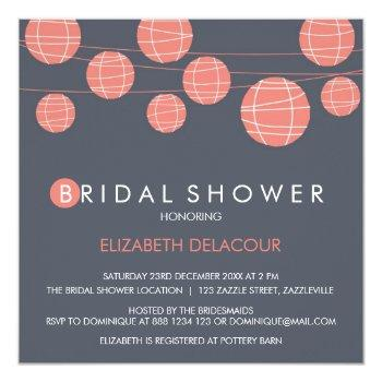 chinese paper lanterns bridal shower invitation