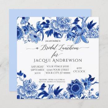 chinoiserie bird blue white floral bridal luncheon invitation