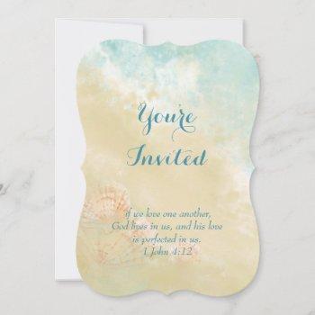 christian scripture beach ocean seashell wedding invitation