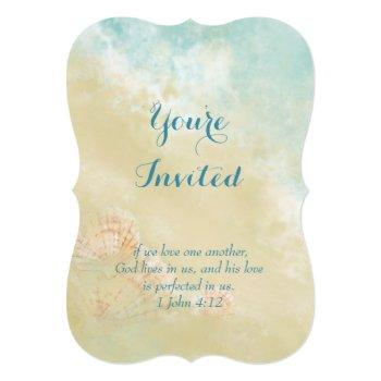christian scripture beach ocean seashell wedding invitation