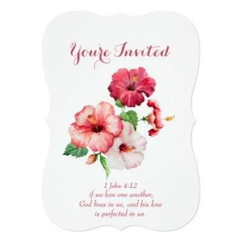 christian scripture tropical flower wedding invitation