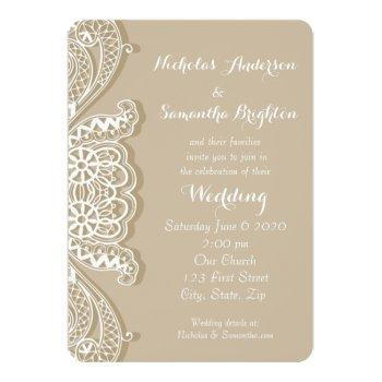 christian vintage classic white lace taupe wedding invitation