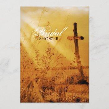 christian vintage country cross bridal shower invitation