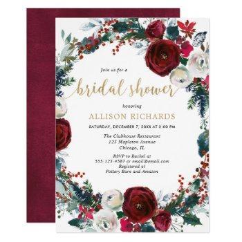 christmas bridal shower burgundy gold elegant invitation