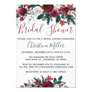 christmas bridal shower invitations - holiday