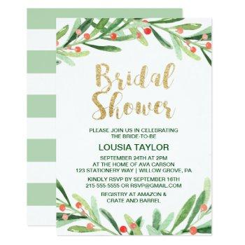 christmas holly wreath bridal shower invitation