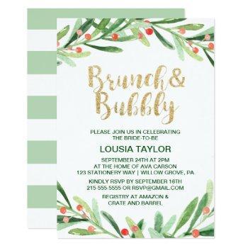 christmas holly wreath brunch & bubbly invitation