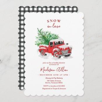 christmas little red truck bridal shower invitation